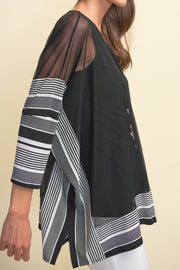 Joseph Ribkoff Black & White Striped Trim Tunic Style 211287