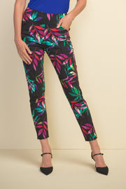 Joseph Ribkoff Black & Multi Color Front Seam Printed Pants Style 211321