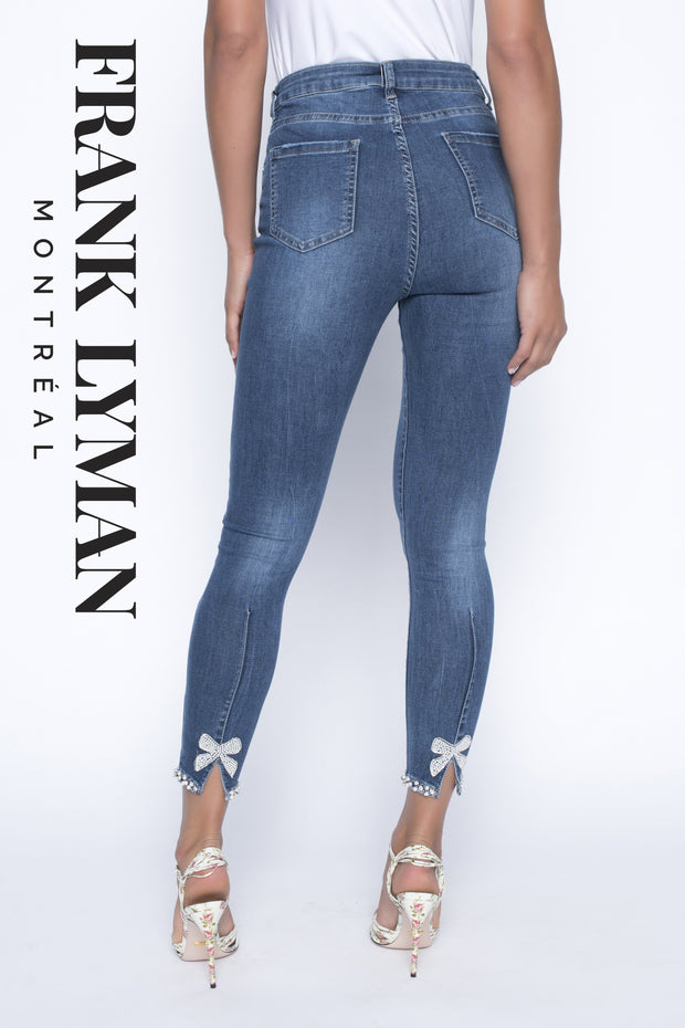 Frank Lyman Blue Denim Pants with accent Hem Pearls Style - 190117U