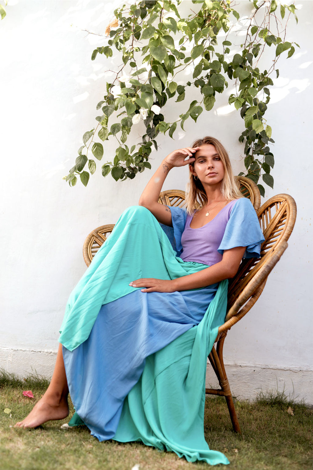 Goddess Dress Turquoise, purple, pale blue floaty bohemian