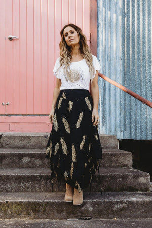 The Kasey Skirt - Black and Gold
