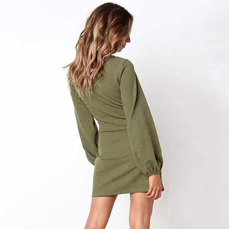 Women's Elegant Knitted Bodycon Tie Waist Sweater Pencil Dress