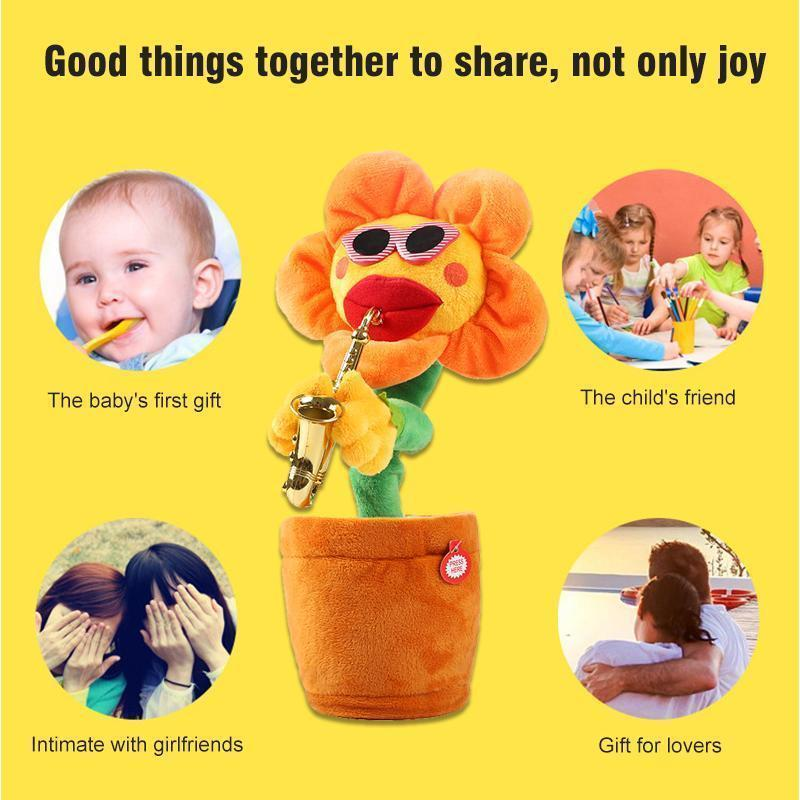 Sunflower singer with saxophone, funny toy