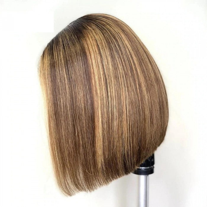 Blonde Highlight Straight Lace Bob Front Wig