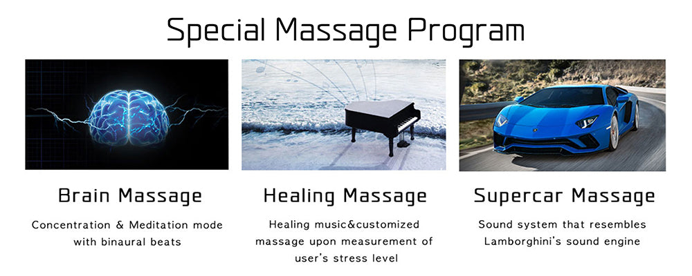 Special Massage Programs Such as Brain Massage, Healing Massage, And Supercar Massage