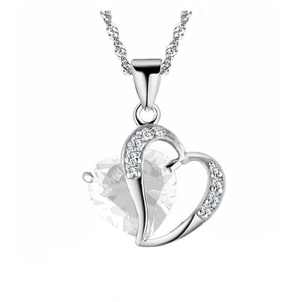 Love heart stone chain necklace