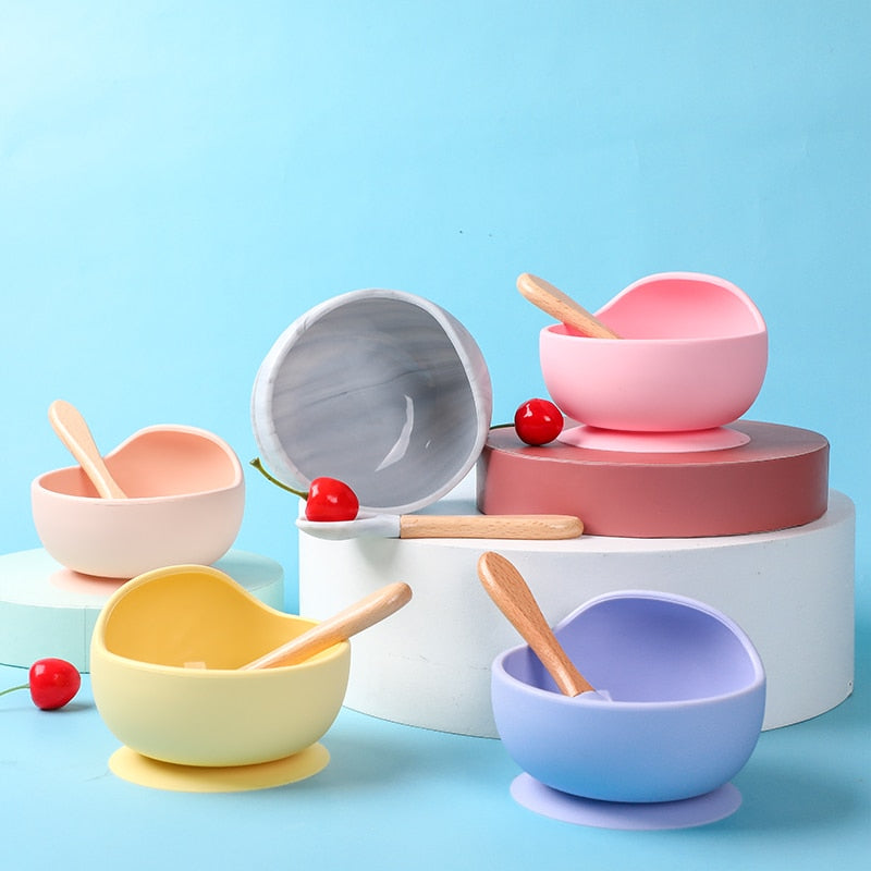 Baby Silicone Dishes Dining Plate Bowl