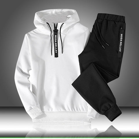 Sets Tracksuit Men Autumn Winter Hooded Sweatshirt Drawstring Outfit Sportswear