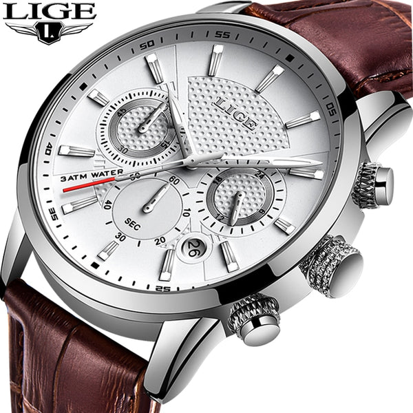 LIGE Mens Watches Genuine Leather
