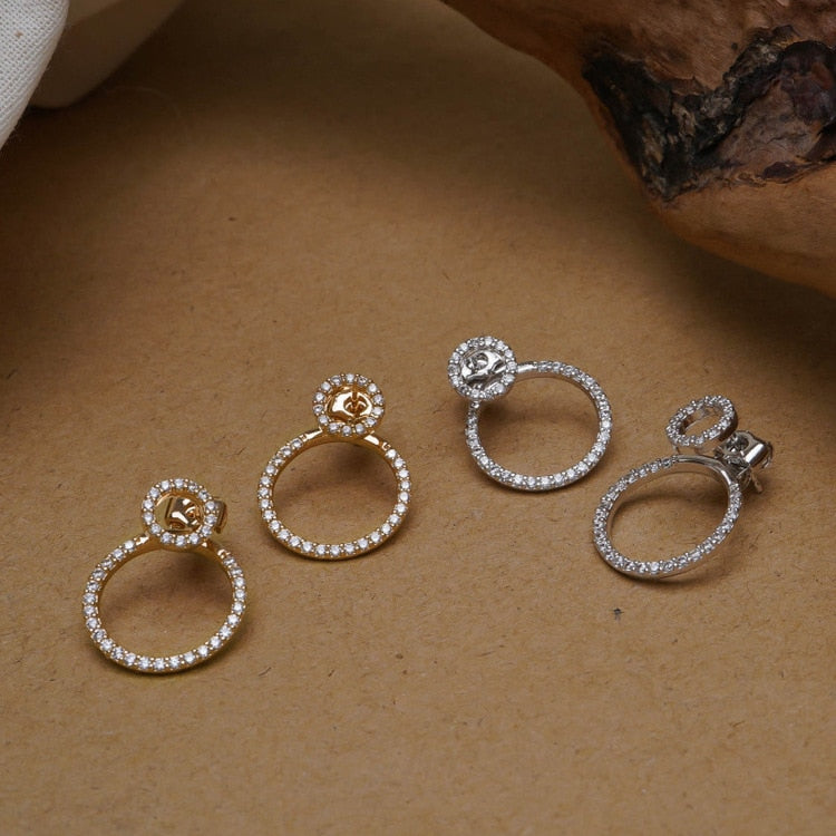 Front And Back Circle Stud Earrings