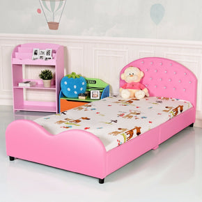 Kids Children PU Upholstered Platform Wooden Princess Bed Bedroom Furniture