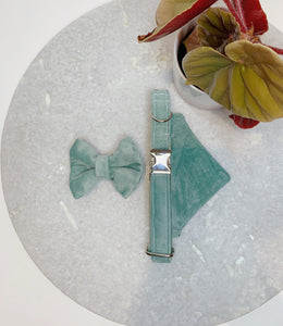 DUCK EGG BLUE VELVET LUXE | BOW TIE
