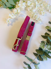 Load image into Gallery viewer, FUSIA PINK VELVET LUXE | COLLAR & LEAD SET