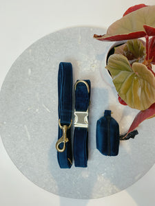 MIDNIGHT NAVY VELVET LUXE | COLLAR & LEAD SET