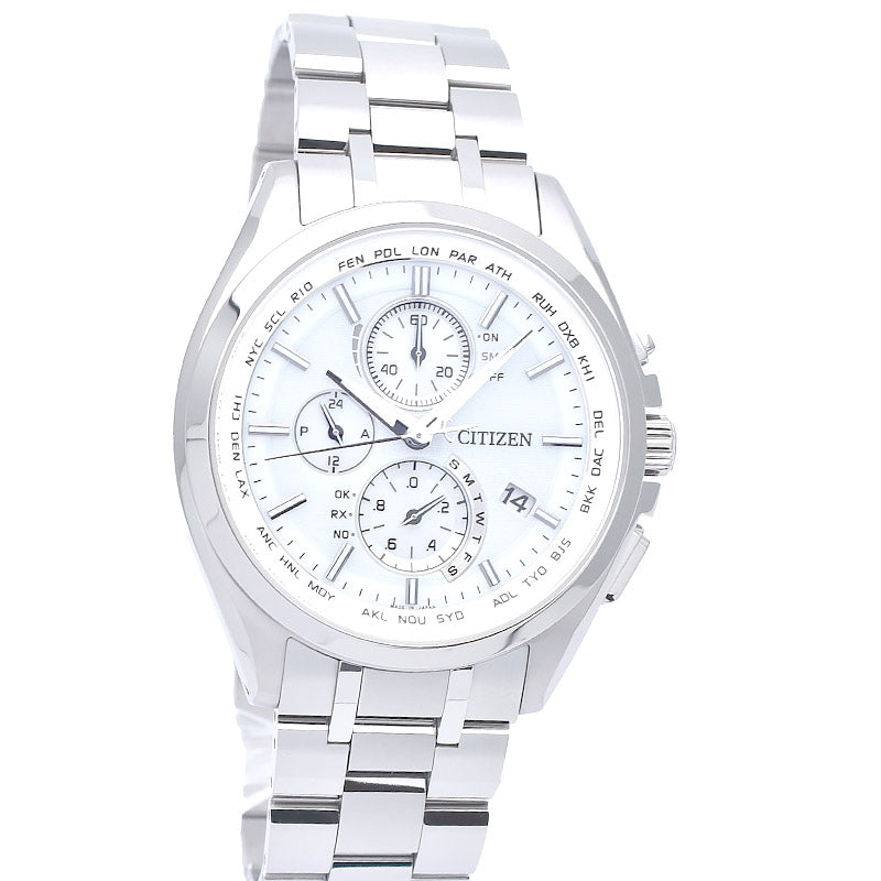 CITIZEN ATTESA Eco-Drive AT8040-57A Solar Titanium Chronograph White Dial Watch - IPPO JAPAN WATCH