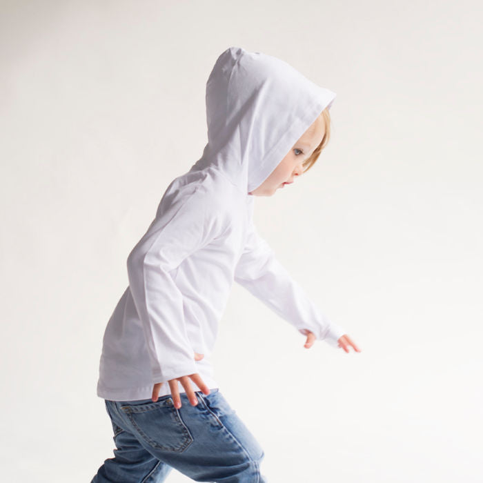 Young boy wearing Baby Blanks White Basic Hoody