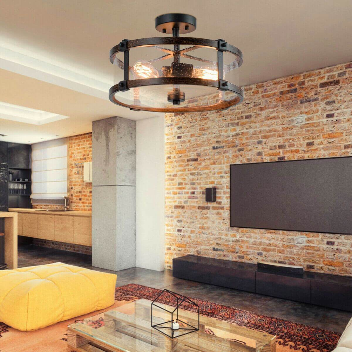 3-Light Living Room Retro Flush Mount Ceiling Light - at´creative
