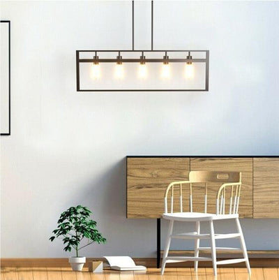 Whitely - 5 Lights Pendant Lamp with Iron Square Lamp Shade - Atcreative