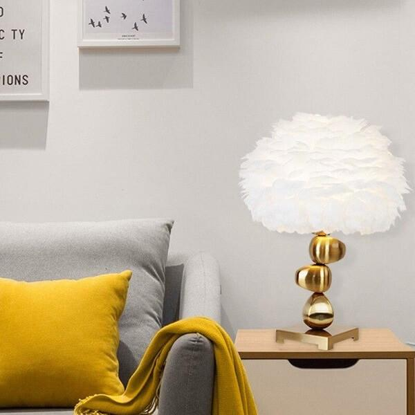 Atenas Feather Shade Metal Table Lamp - Atcreative