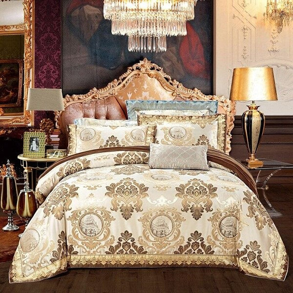 Anorfa Golden Jacquard Satin Luxury Duvet Cover Sets - Atcreative