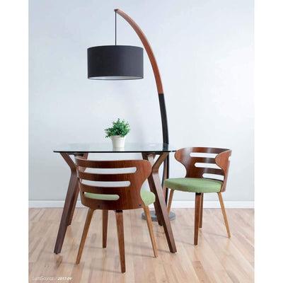 Carson - Contemporary floor lamp with walnut frame and marble base - Atcreative