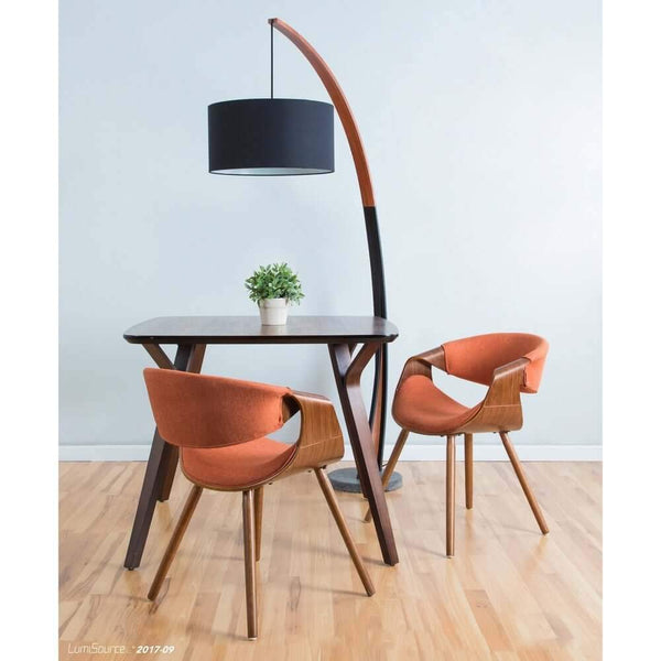 Carson - Contemporary floor lamp with walnut frame and marble base - at´creative