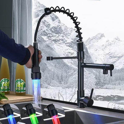 Carylon - LED Kitchen Spring Deck Mounted Faucet - Atcreative