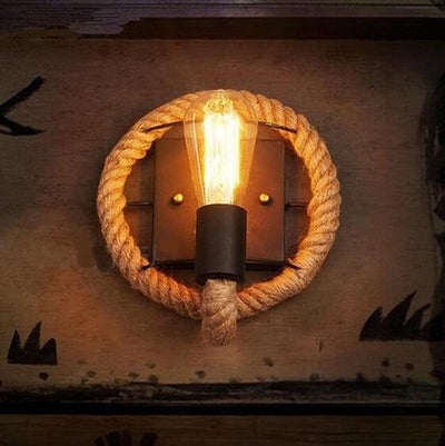 Clove - Round Rope Wrap Wall Lamp - Atcreative