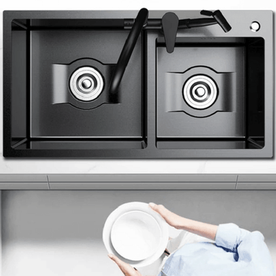 Daxon - Black Nano Stainless Steel Double Kitchen Sink with Soap Dispenser - Atcreative