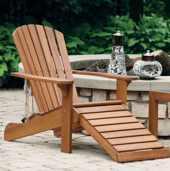 Eilaf Eucalyptus Adirondack Chair with Built-in Ottoman - Atcreative