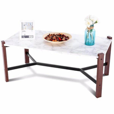 Fable - Faux Marble Top Living Room Coffee Table - Atcreative