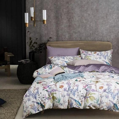 Floral Blossom Bedding Egyptian Soft Cotton Duvet Cover Set - Atcreative
