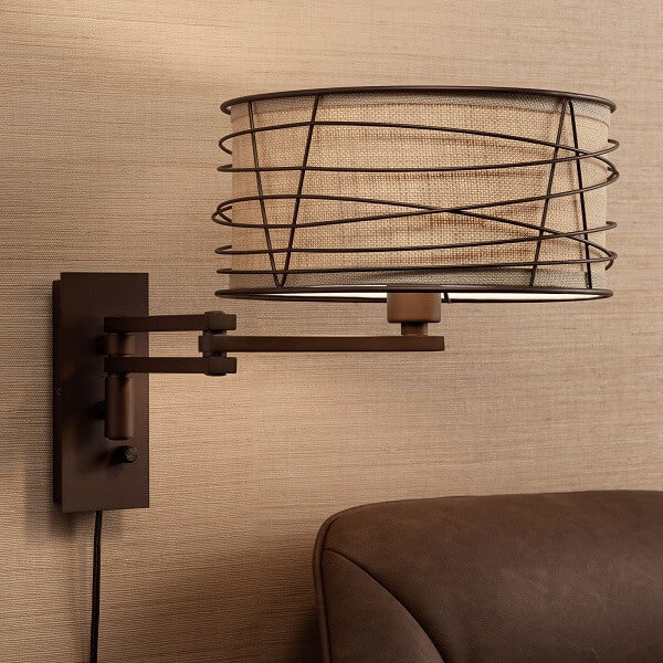 Franklin - Rustic Farmhouse Swing Arm Wall Lamp - at´creative