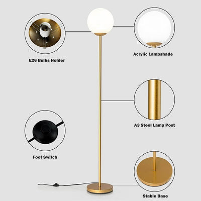 Glass Globe LED Floor Lamp w/ Acrylic Lampshade - Atcreative