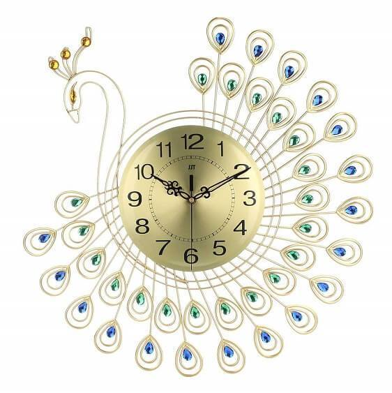 Gold 3D Peacock Wall Clock - Atcreative