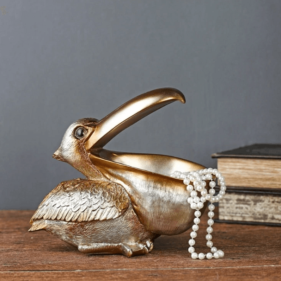 Golden Bird Pelican Key Storage Ornament - at´creative