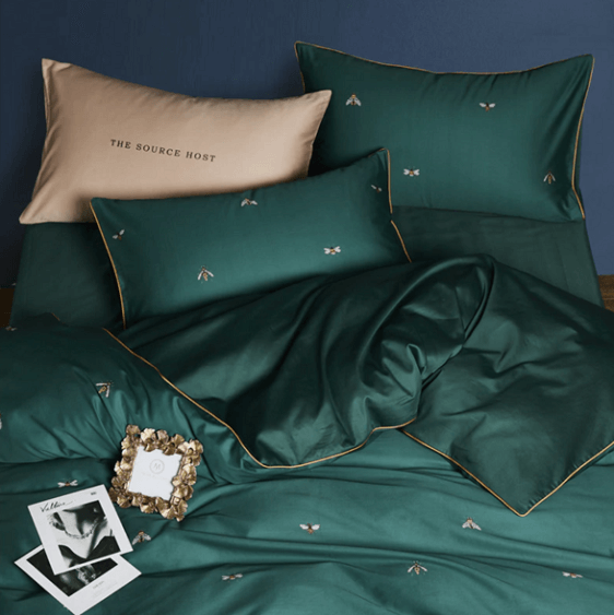 Greenwich Silky Green Egyptian Cotton Duvet Cover Set - Atcreative