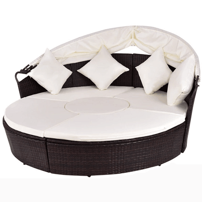 Jacinto - Canopy Cushioned Round Daybed Sofa - Atcreative