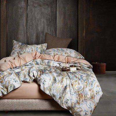 Kensington Paisley Luxury Egyptian Cotton Duvet Cover Set - Atcreative