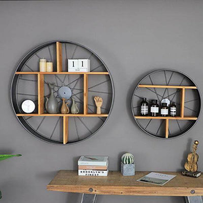 Lau - Wood & Iron Wheel Shelf - Atcreative
