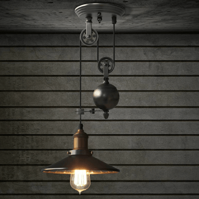 Lincoln - Black Mirror Shade Pulley Pendant Light - Atcreative