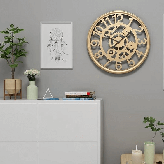Linden - Cogs & Gears Wrought Iron Clock - Atcreative