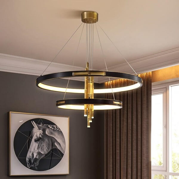 Ava Two-Tier Modern Rounded Metal Chandelier - Atcreative