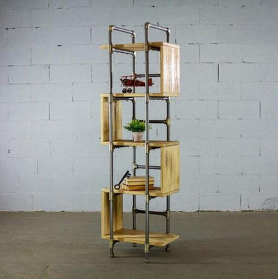 Modern Five Shelf Open Pipe Display Bookcase - Atcreative