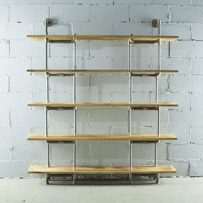 Modern Industrial Five Shelf Large Bookcase - Atcreative