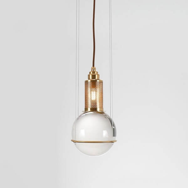 Opal Round Glass Sphere Midcentury Pendant Light