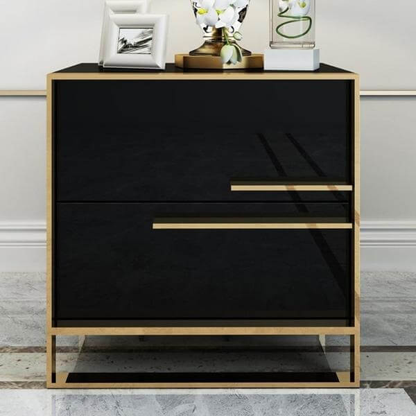 Orly - Two Drawer Modern Nightstand - Atcreative