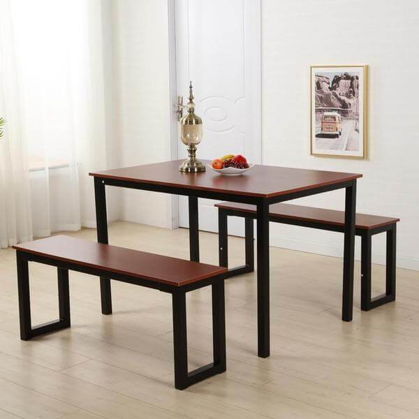 Raul - Three Piece Bench & Dining Table Set