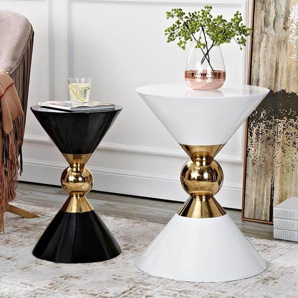 Renzo - Round Hourglass End Table - Atcreative