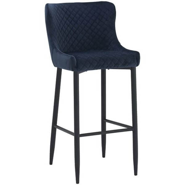 Saskia - Navy Blue Bar Stool - at´creative